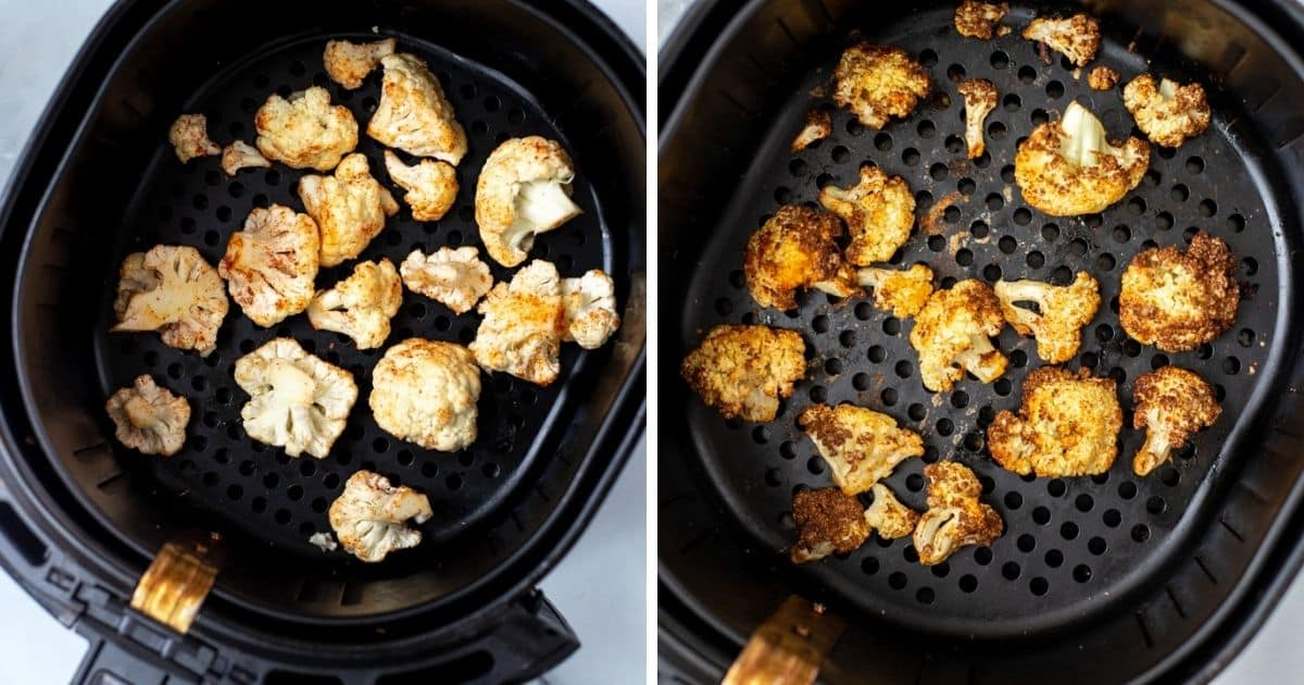 Cauliflower in Air Fryer before and after air frying.