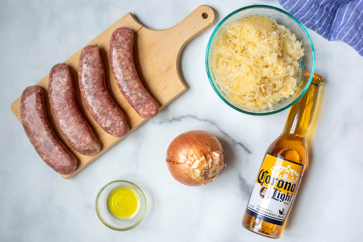 Ingredients for Instant Pot Brats on counter.