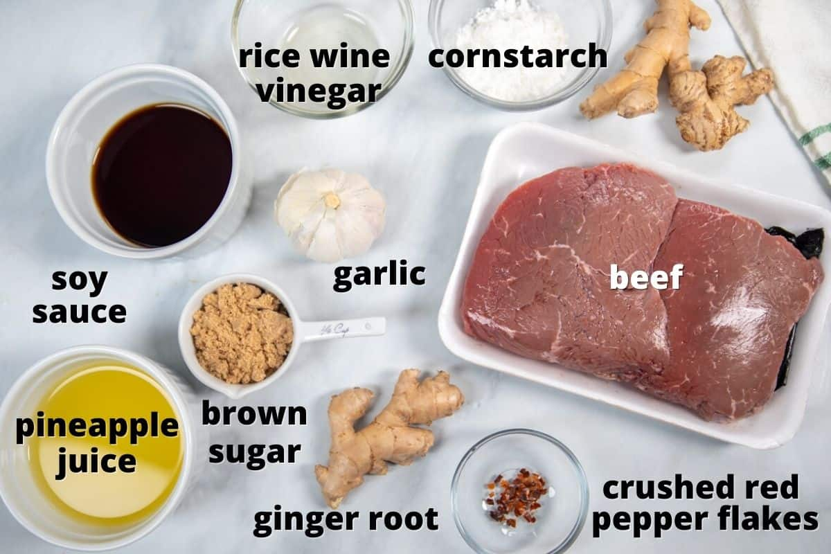 Ingredients for mongolian beef labeled on counter.