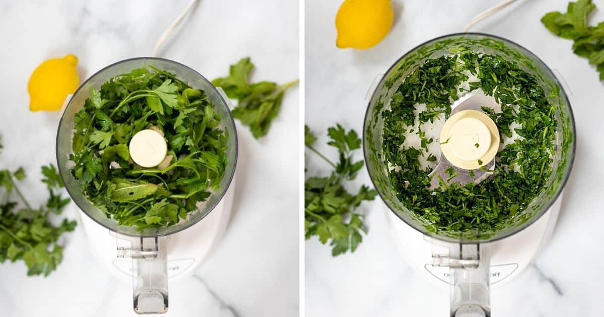 Mint and parsely in food processor before and being processed.