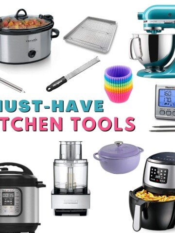 Collage of Kitchen Tools with text that reads must have kitchen tools.