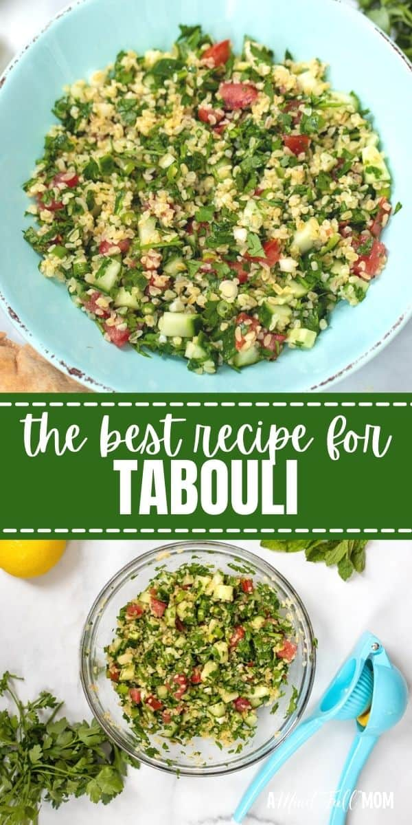 Tabbouleh, or Tabouli, is an easy Middle Eastern salad made with fresh parsley, mint, bulgar wheat, tomatoes, cucumbers, and a simple olive oil and lemon dressing. It is light, fresh, healthy, and delicious. Tabouli makes a perfect side dish, condiment, or salad.