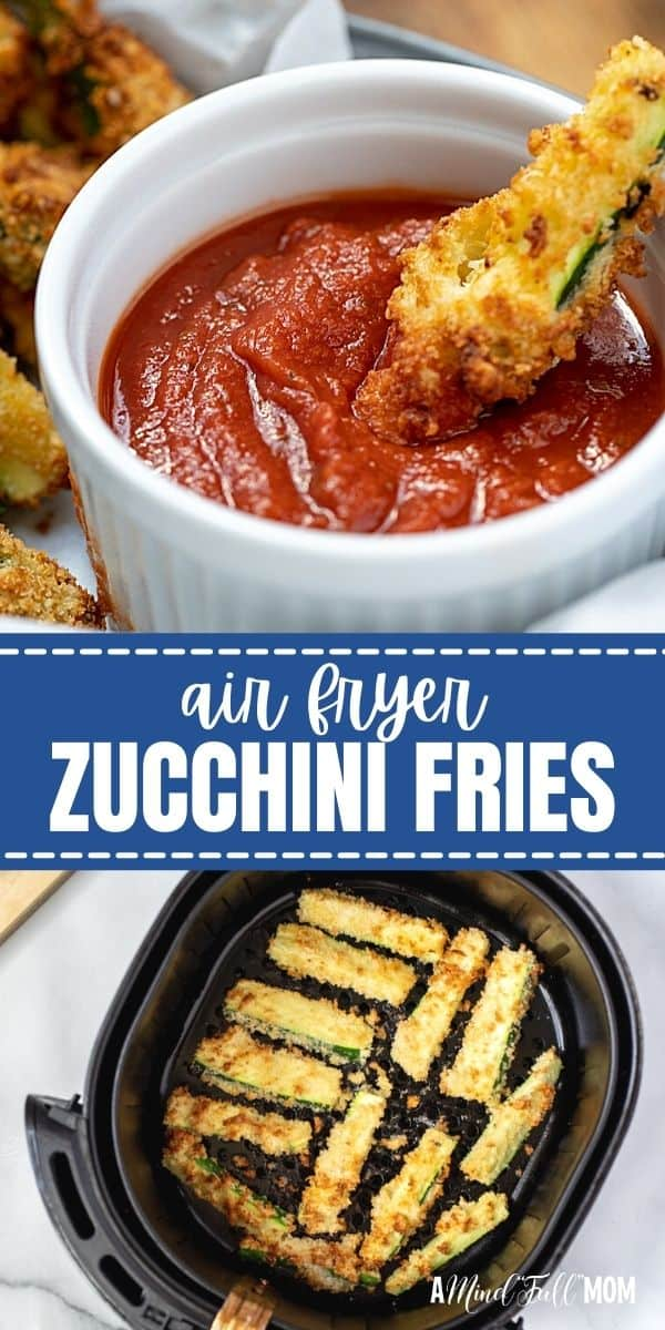 Made with a crispy, parmesan breading, Air Fryer Zucchini Fries are tender on the inside, crunchy on the outside, and full of flavor! They are low in fat and make a healthy appetizer or delicious side dish. These Air Fryer Zucchini Fries are the best way to enjoy fresh zucchini.