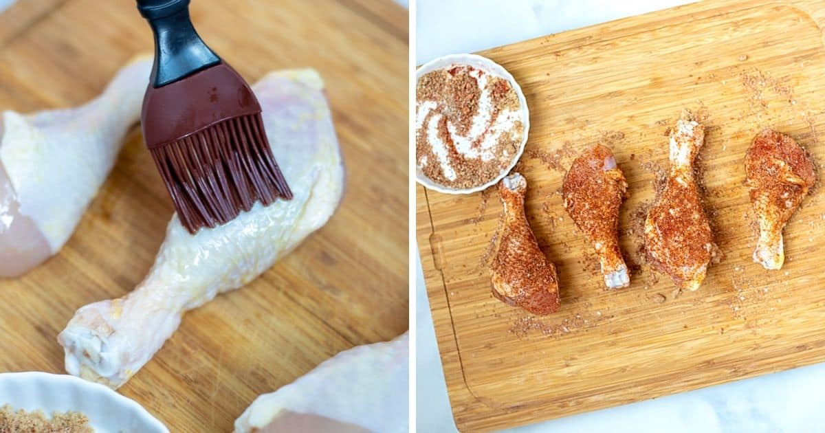 Side by side photo of chicken leg being brushed with oil then seasoned with dry rub.