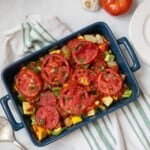 Baked Italian Vegetable Casserole in blue baking dish.