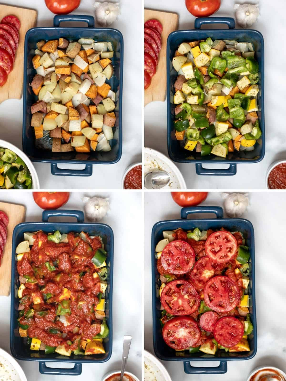 Collage of 4 photos showing step by step of baking veggie casserole.