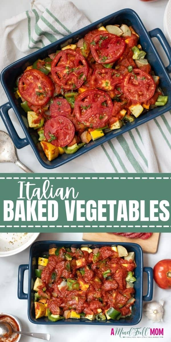 This Italian Vegetable Casserole is a delicious and easy way to enjoy baked vegetables. Made with hearty root vegetables, tender squash, peppers, fresh tomatoes and seasoned with oregano, garlic, and olive oil, these baked vegetables are NEXT LEVEL delicious. This makes a hearty side dish or fabulous vegetarian entree.