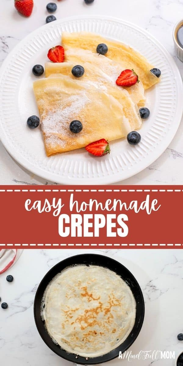 These homemade crepes are thin and light, yet simple to make. Made with only a few ingredients, a blender, and a skillet, this recipe produces delicate, buttery crepes that are delicious served plain, stuffed, sweet, or savory.