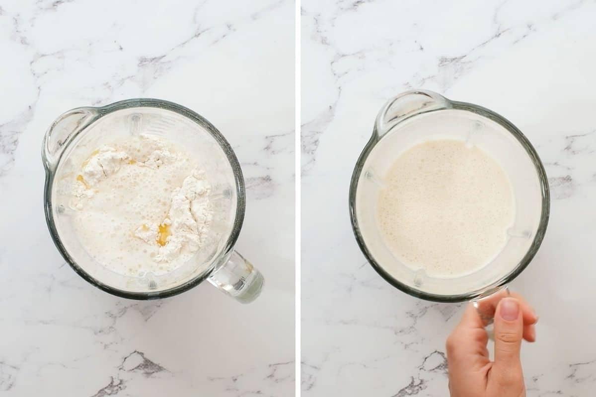 2 blenders before and after blending crepe batter.