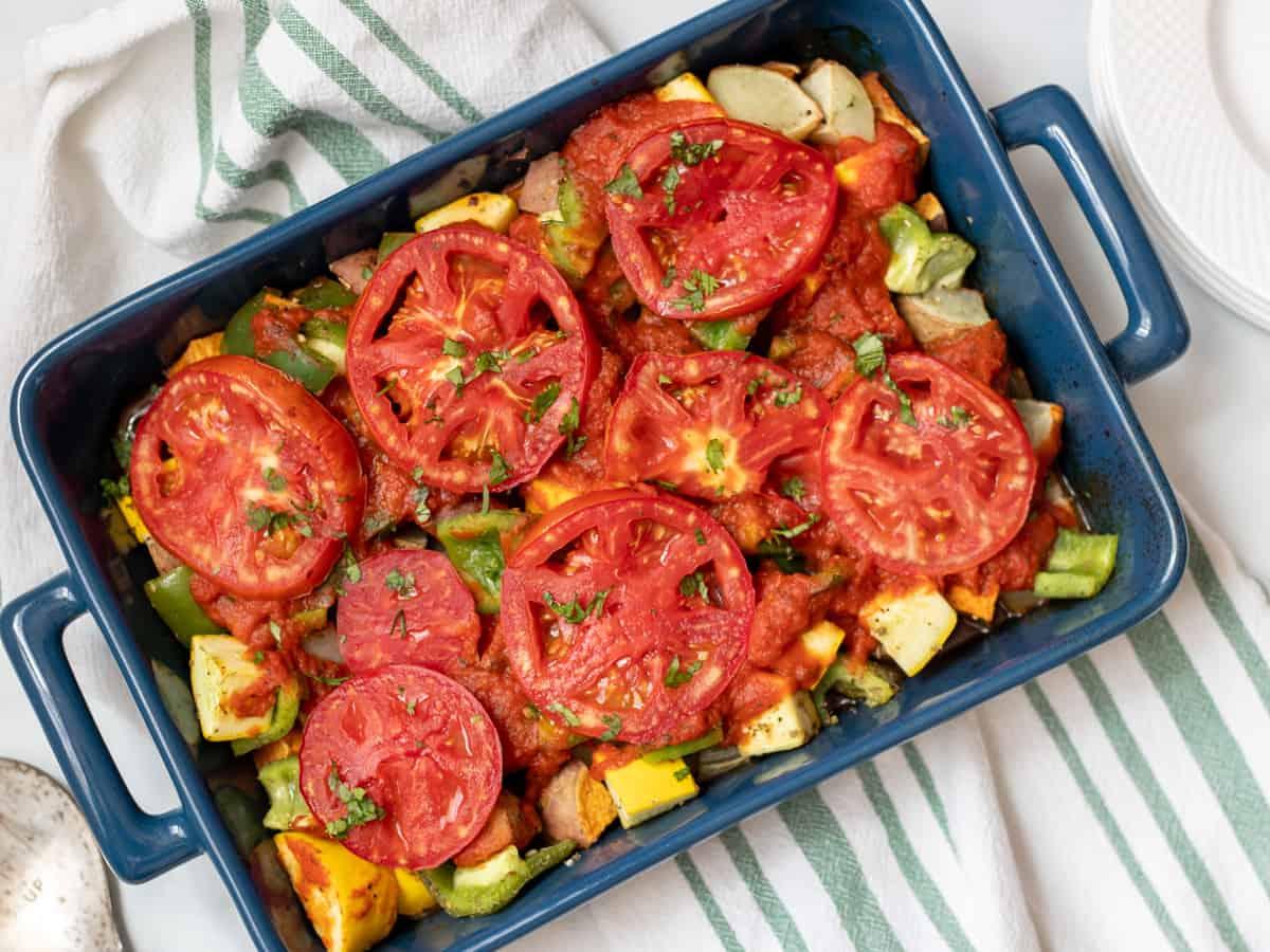 Baked Italian Vegetables in blue casserole dish.