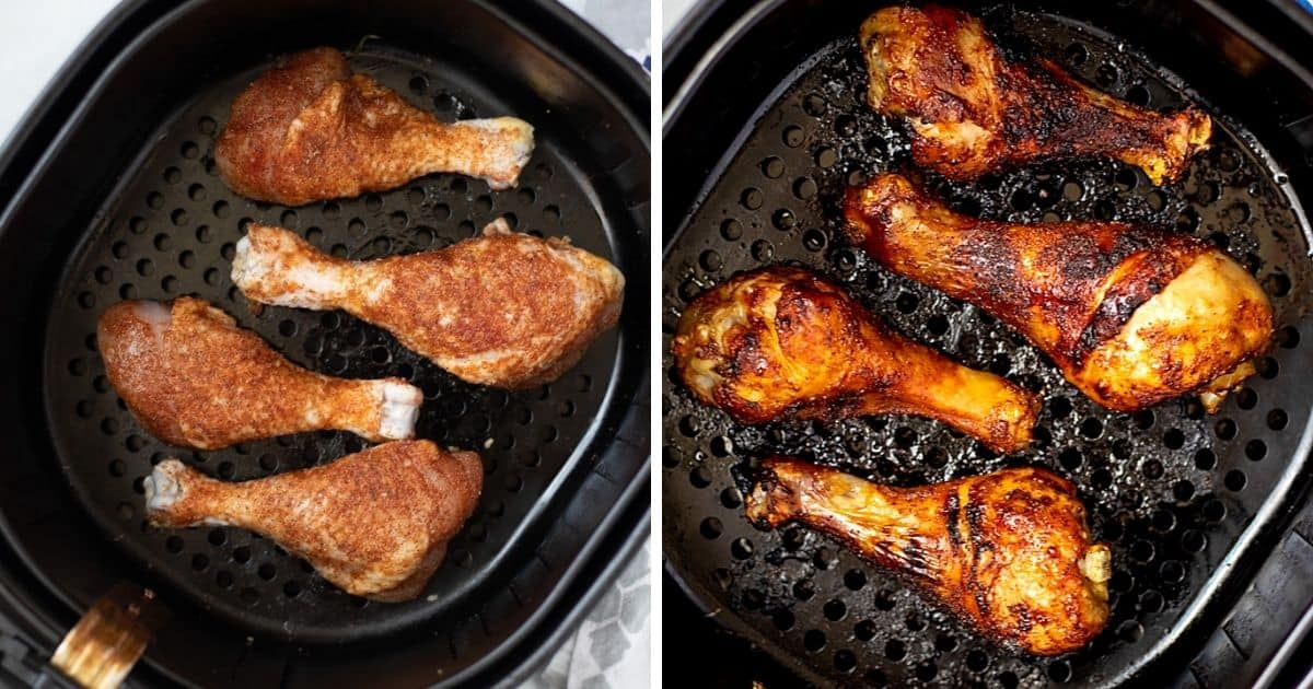 Side by side photo of chicken legs in basket of air fryer before and after cooking.