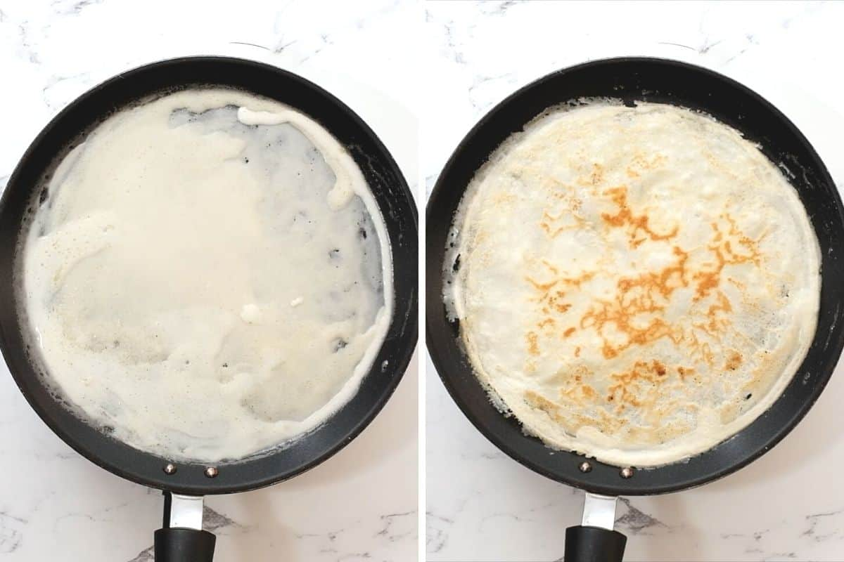 Crepe batter in skillet cooked and uncooked.