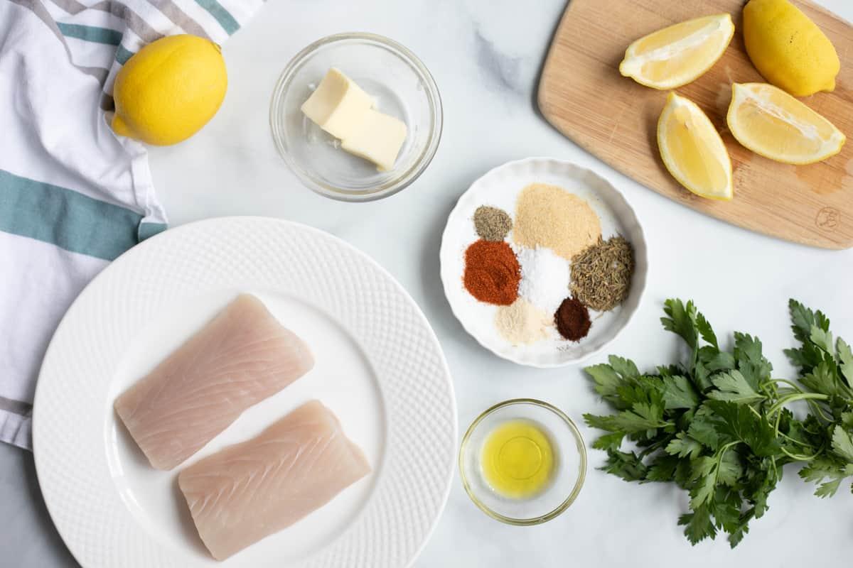 Ingredients for Blackened Mahi Mahi on white counter.