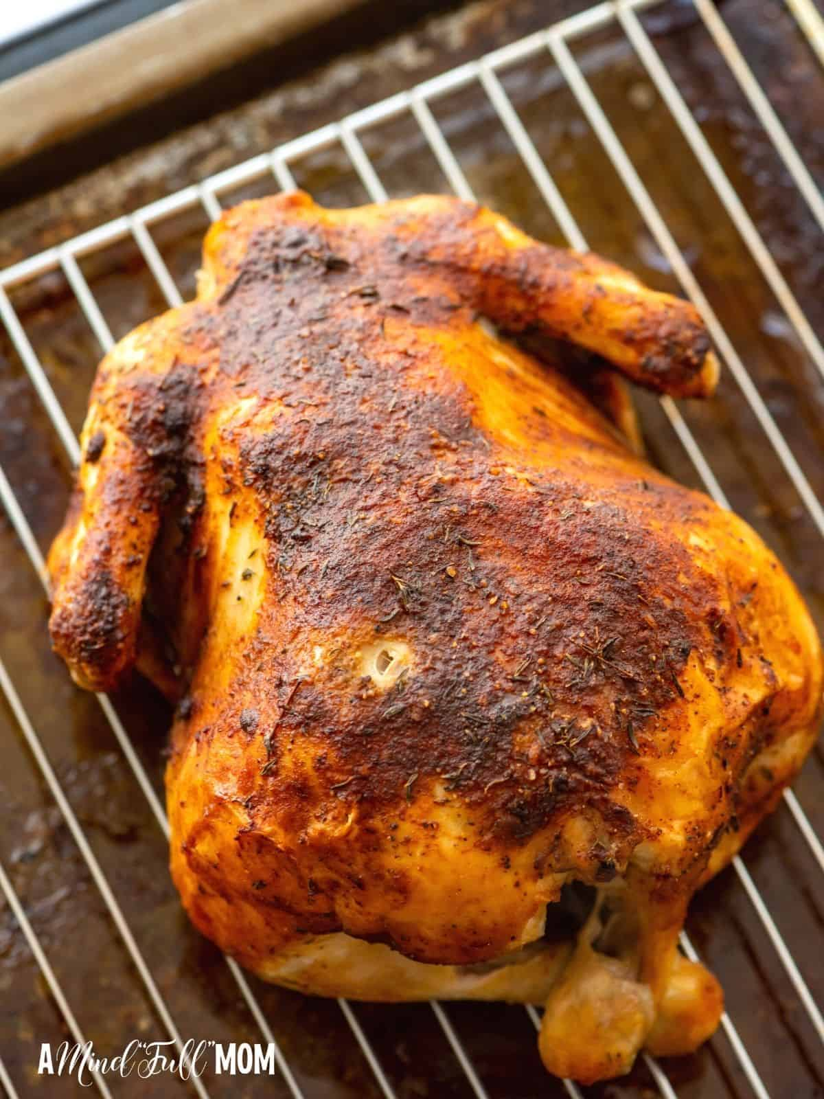 Rotisserie Chicken on Baking Rack.