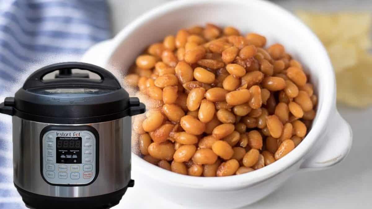 Boston Baked Beans in white bowl next to Instant Pot.