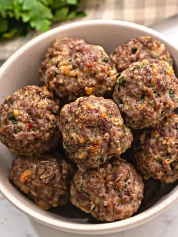 Bowl of Baked Meatballs.