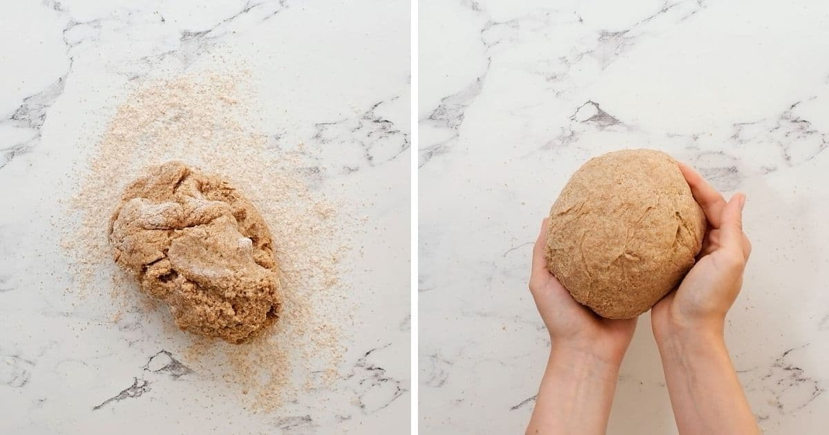 Side by side picture of bread being kneading by hand on counter.