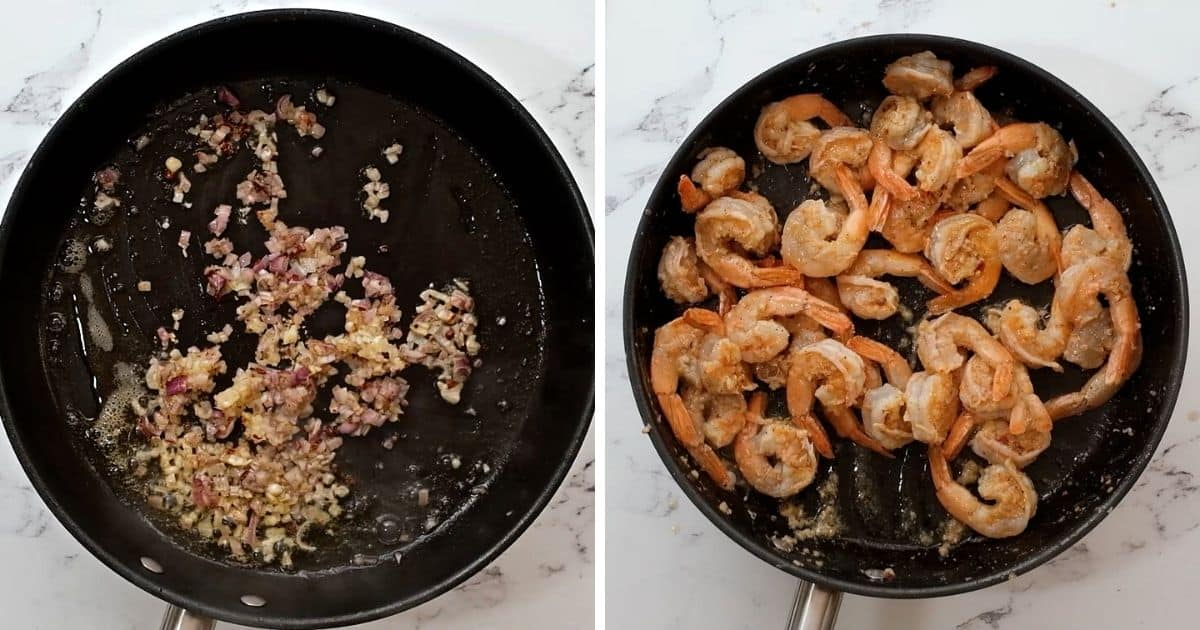 Side by side photo of saute pan with shallots and then shrimp.