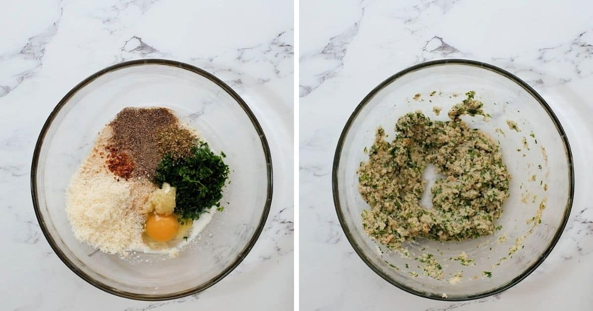 Side by side of ingredients before and after mixing the binder ingredients to the meat.