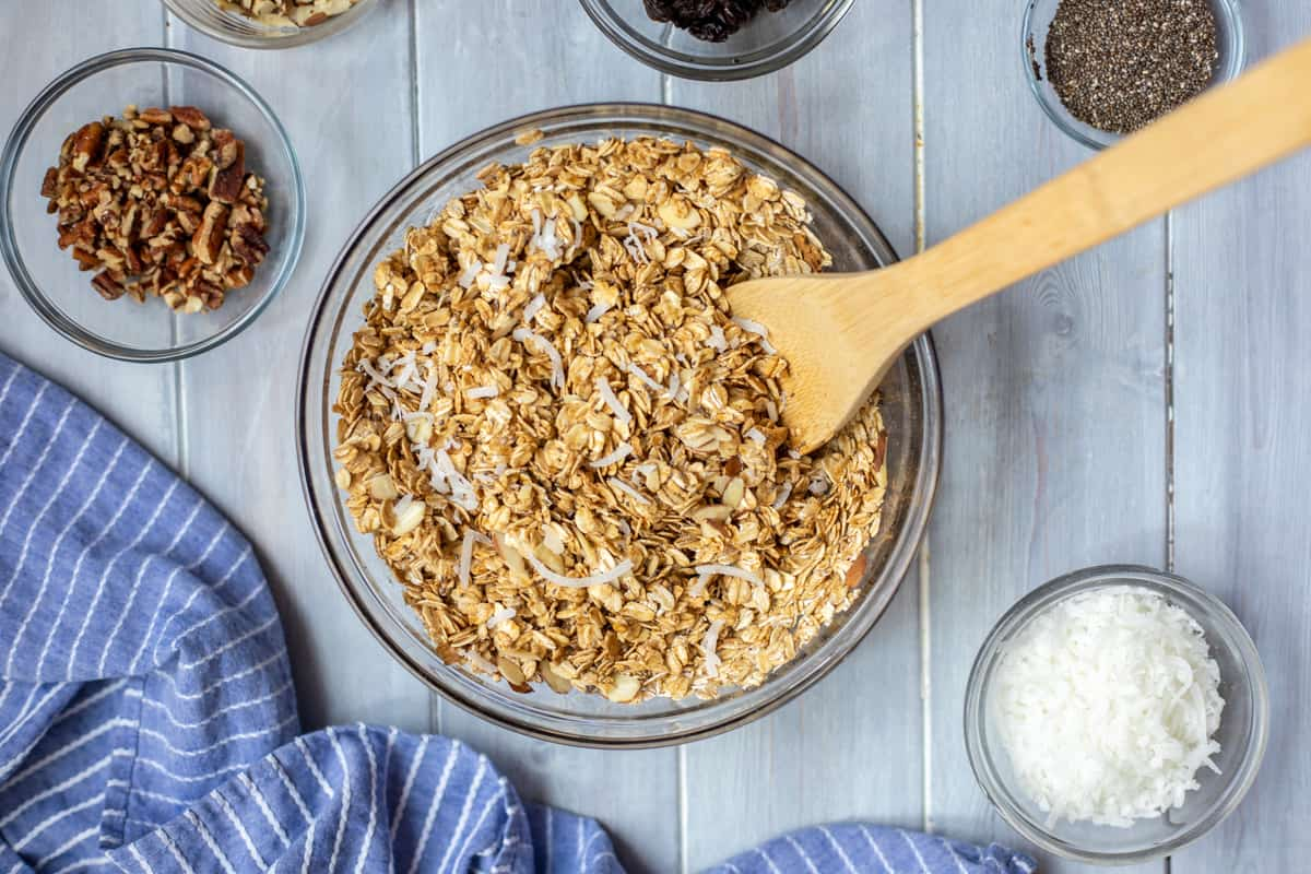 Oats mixed with maple syrup and oil.
