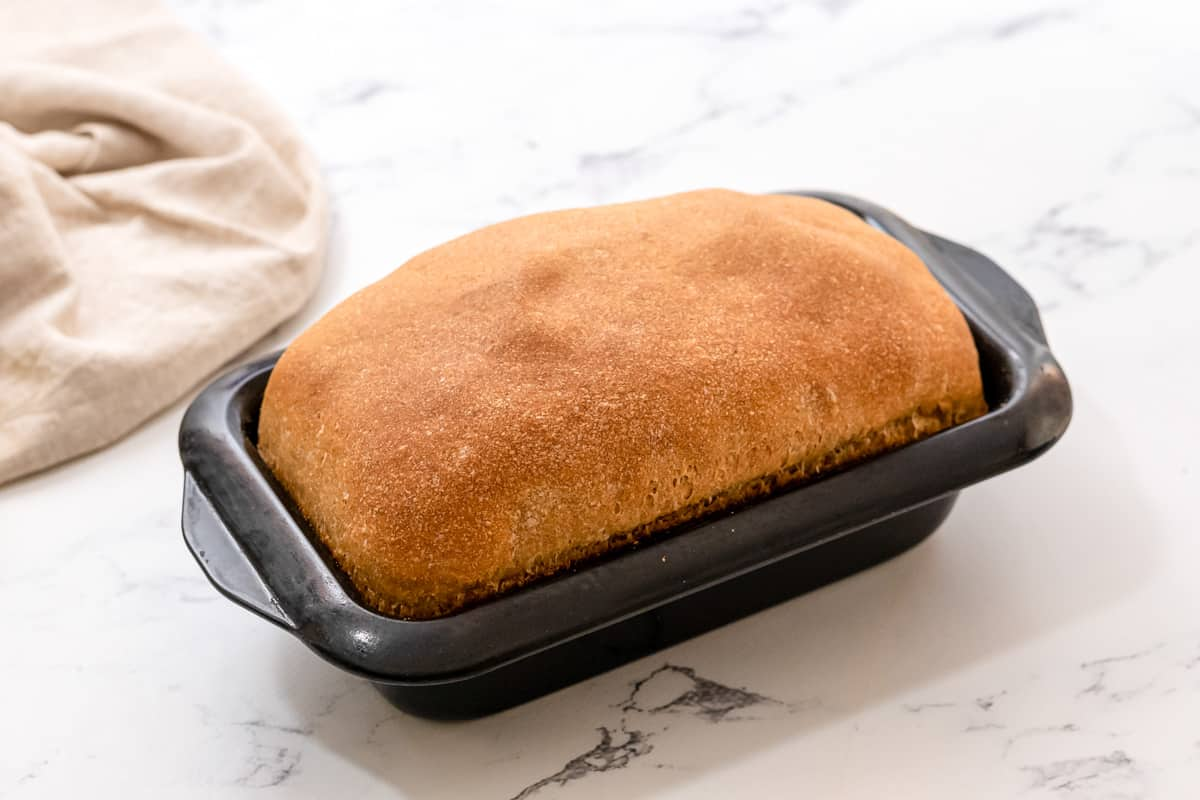 Loaf of baked wheat bread in loaf pan.