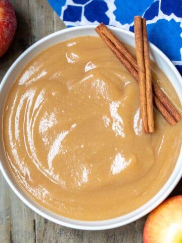 Bowl of homemade applesauce.