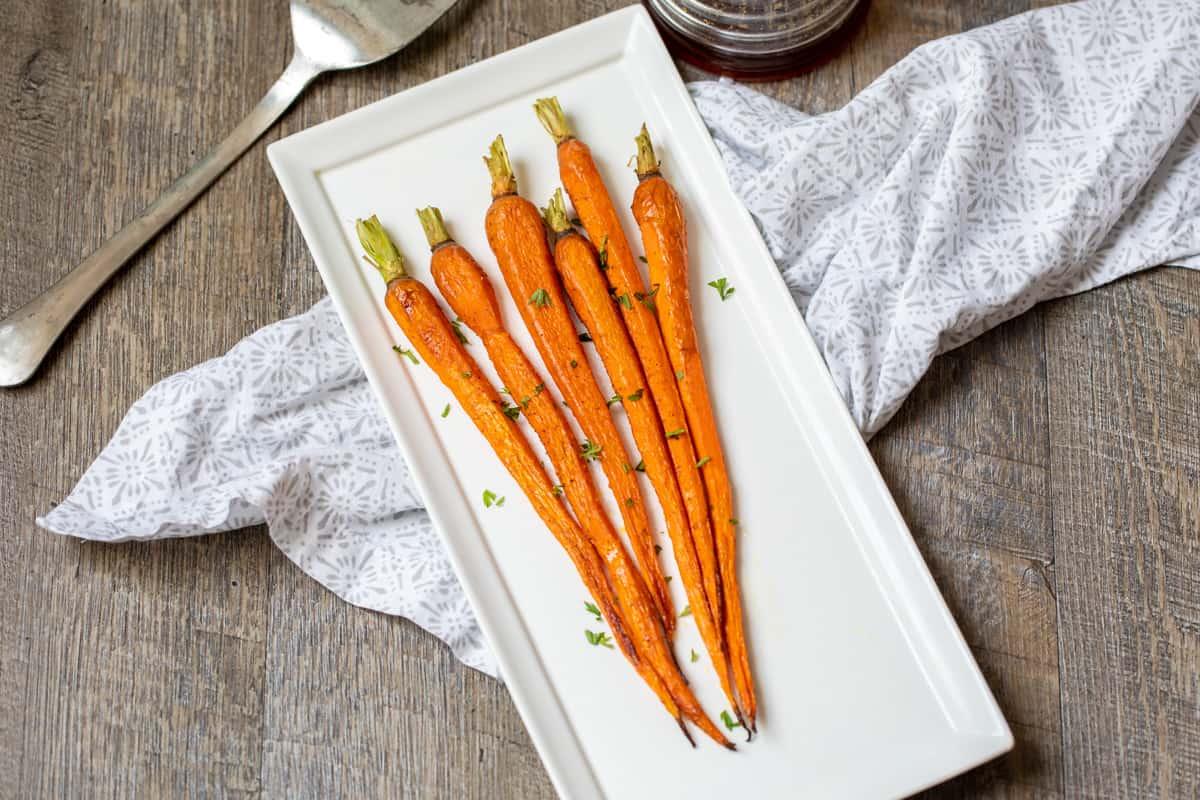 A tray of roasted carrots.