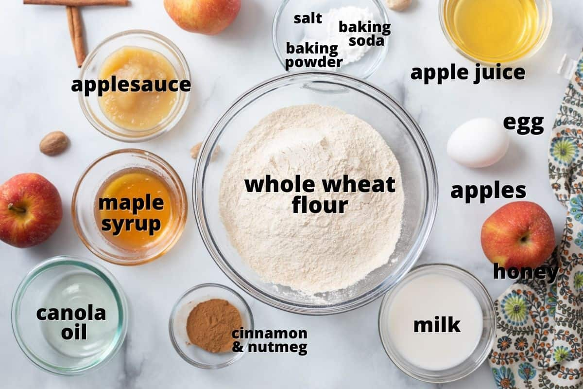 Ingredients for apple bread labeled on the counter.
