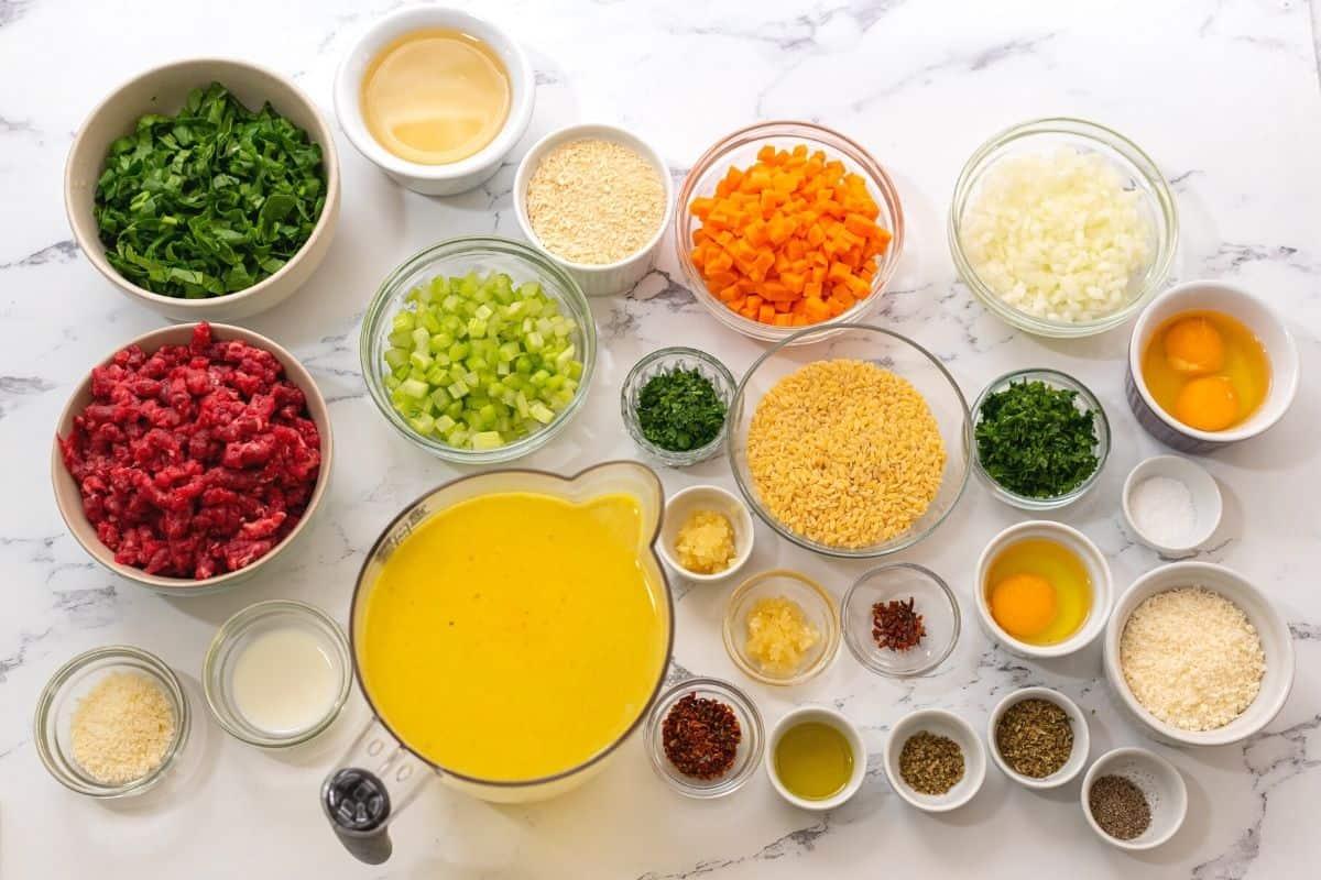 Ingredients needed for Italian Wedding Soup.