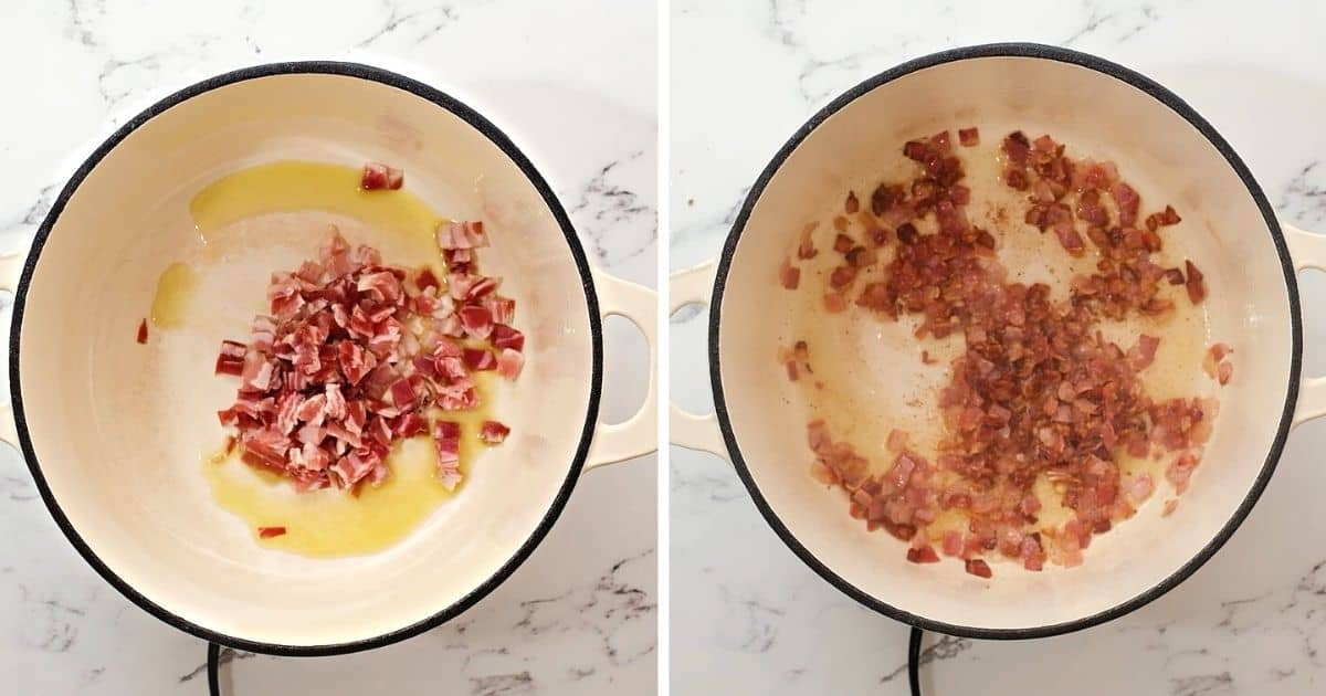 Side by side photo before and after sauteing pancetta in dutch oven.
