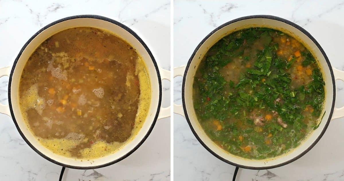 Side by side dutch oven with simmering soup before and after adding spinach.
