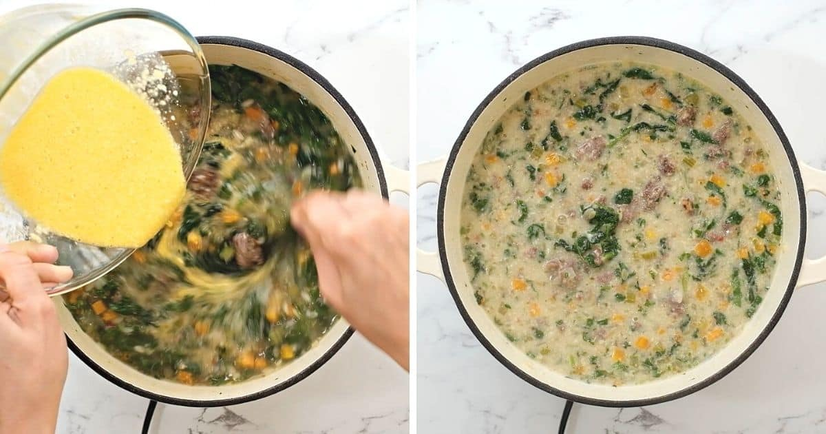 Side by side photo showing swirling soup and after cooking.