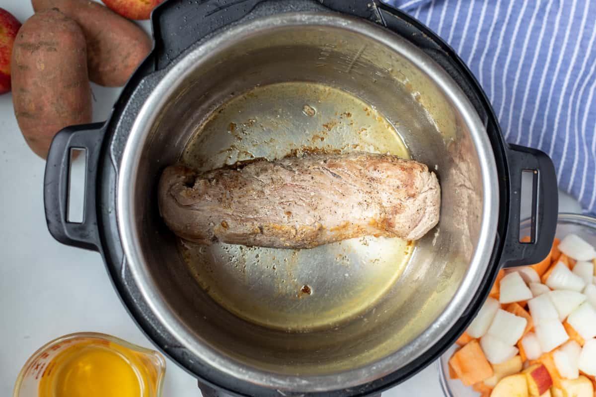 Seared pork tenderloin in instant pot.