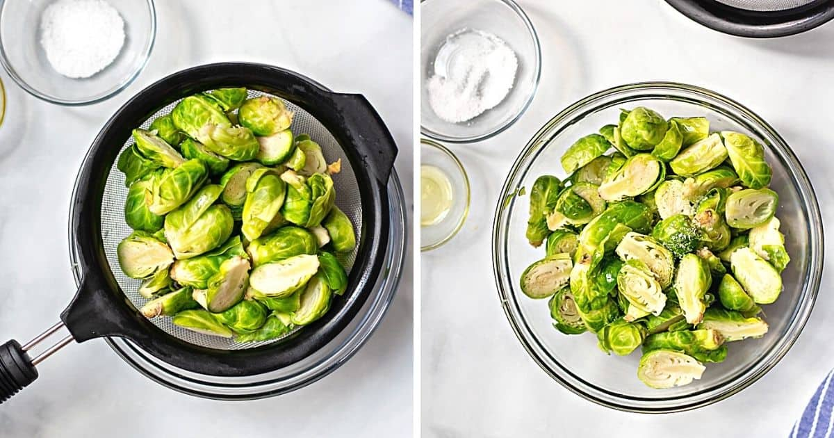 Side by side photos showing brussels sprouts in strainer and seasoned with salt in mixing bowl.