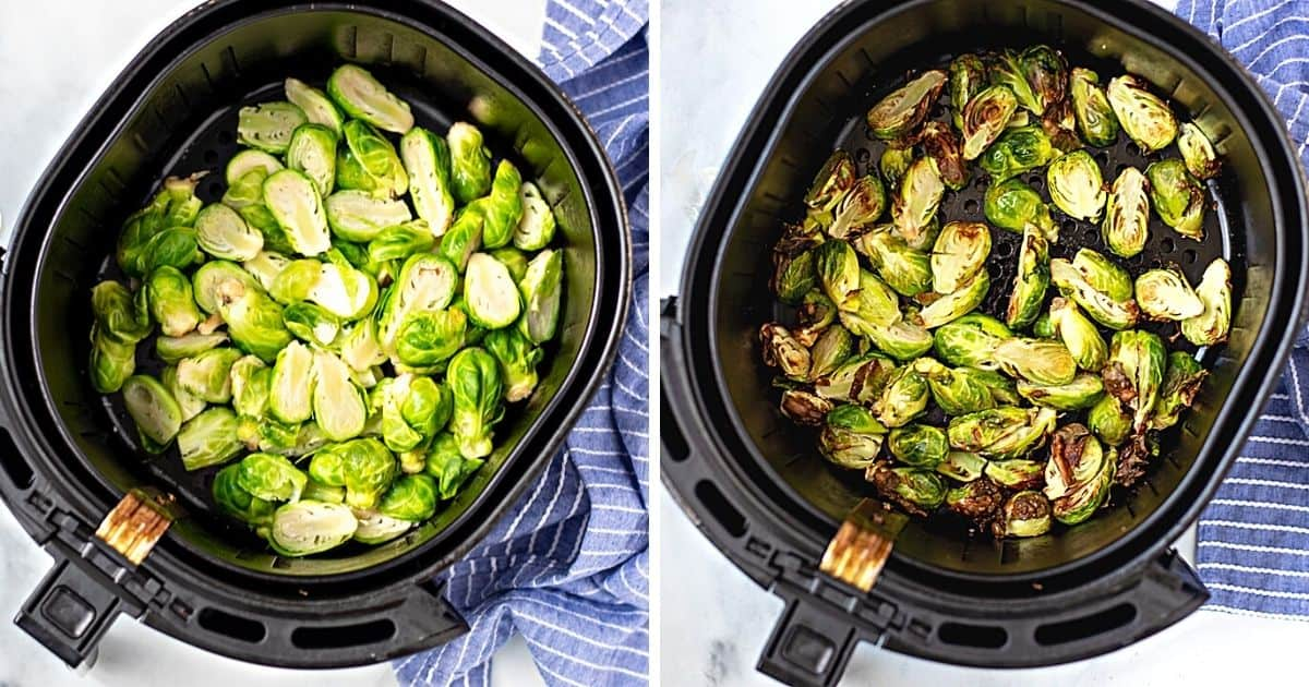 Side by side photo of brussels sprouts before and after air frying.