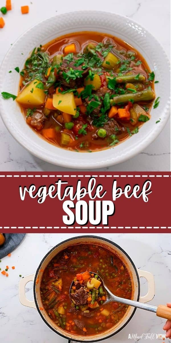 Vegetable Beef Soup is the ultimate comforting soup! This recipe for Vegetable Beef Soup is made with tender chunks of beef and a rich broth filled with vegetables. This recipe can be simmered on the stove or prepared in the slow cooker for a hearty, delicious soup.