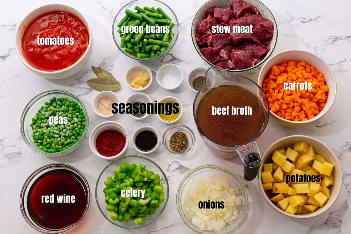 Ingredients for Vegetable Beef Soup on counter.